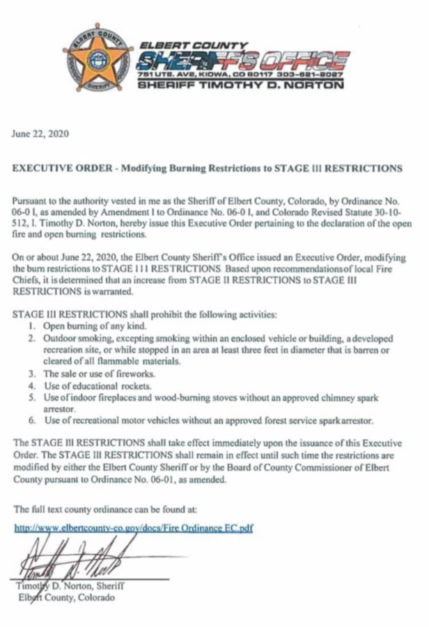 June 22, 2020 Burn Ban Executive Order image